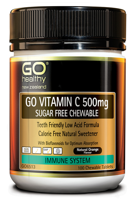 GO VITAMIN C 500mg SUGAR FREE CHEWABLE - Premium Low Acid Formula (100 C-tabs)