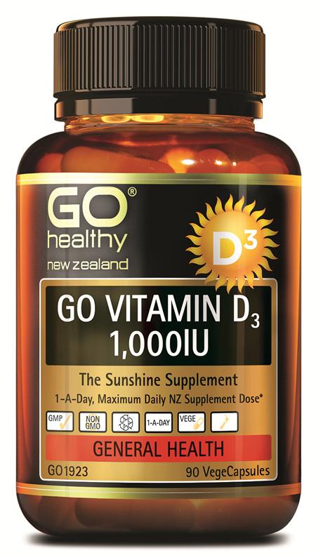 GO VITAMIN D3 1,000IU - THE SUNSHINE SUPPLEMENT (90 VCAPS)