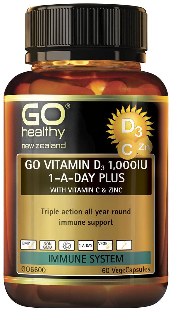 GO Vitamin D3 1000IU 1-A-Day Plus With Vitamin C & Zinc 60 VCaps