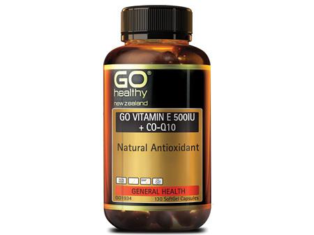 GO VITAMIN E 500IU + COQ10 - NATURAL ANTIOXIDANT (130 CAPS)