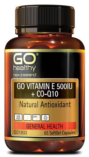 GO VITAMIN E 500IU + COQ10 - NATURAL ANTIOXIDANT (65 CAPS)