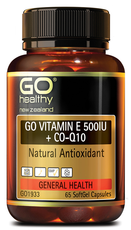 GO VITAMIN E 500IU + COQ10 - NATURAL ANTIOXIDANT (65 CAPS)