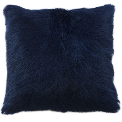 Goat Fur Square Cushion - Limoges Blue