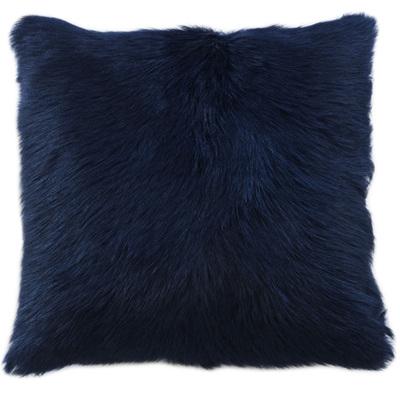Goat Fur Square Cushion - Limoges Blue