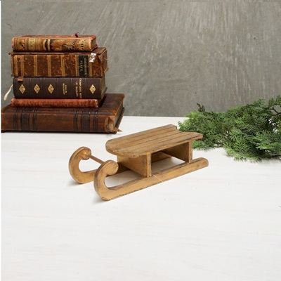 Gold Finish Wooden Sleigh - Small