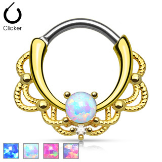 Gold Lace Opal Septum Clicker