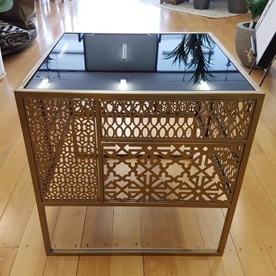 Gold Moroccan Side Table W Black Glass