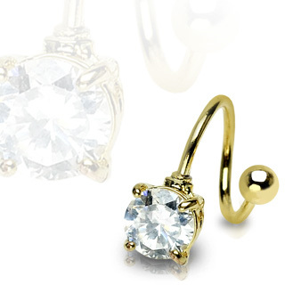 Gold Plated 7mm CZ Gem Twist Navel Bar