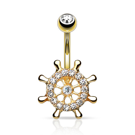 Gold Plated CZ Gem Yacht Wheel Navel Bar