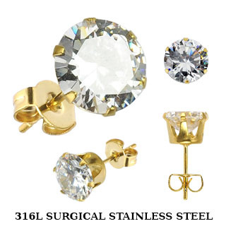 Gold Plated Ear Stud w/ CZ