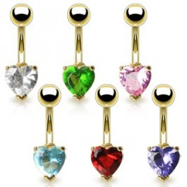 Gold Plated Navel w/6mm Heart CZ