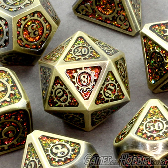 Gold with Amber Steampunk Metal Dice Games and Hobbies New Zealand