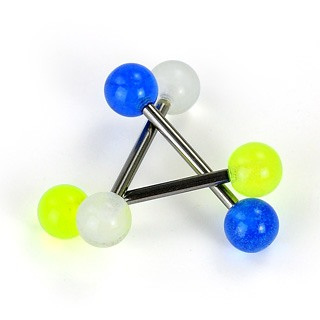 Grade 23 Solid Titanium Barbell with Glow In The Dark Balls