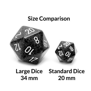 Granite Large 34mm Twenty Sided Dice Games and Hobbies New Zealand NZ