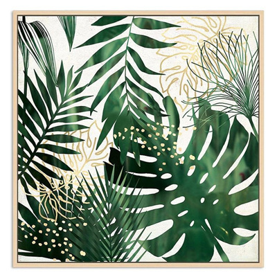 Green and Gold Palms Canvas A - Floating Frame