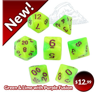 Green and Lime with Purple Fusion Dice