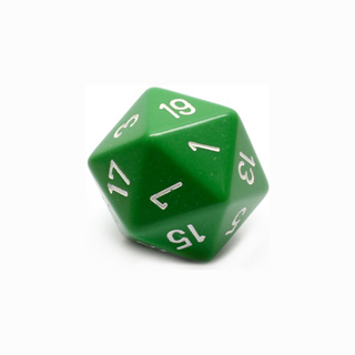 Green with White Large Twenty Sided Dice