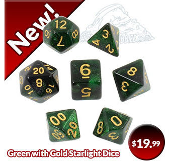 Green with Gold Starlight Polyhedral Dice Games and Hobbies New Zealand
