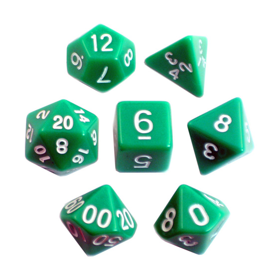Green with White Standard Polyhedral Dice Games and Hobbies New Zealand NZ