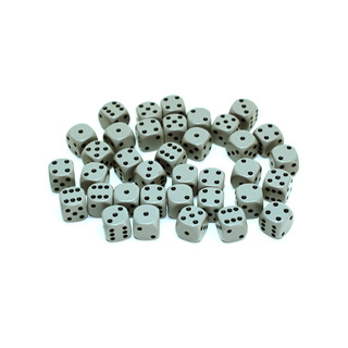 36 Grey and Black Six Sided Dice (12mm)