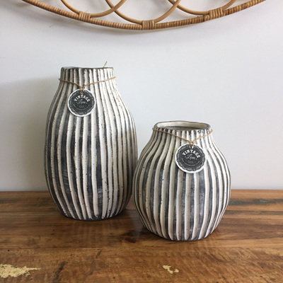 Grey and White Stripe Vase