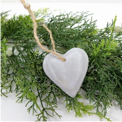 Grey Heart Hanging Decoration - Concrete