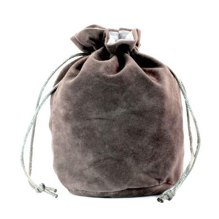Grey Velveteen Drawstring Bag