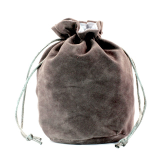 Grey Velveteen Drawstring Bag
