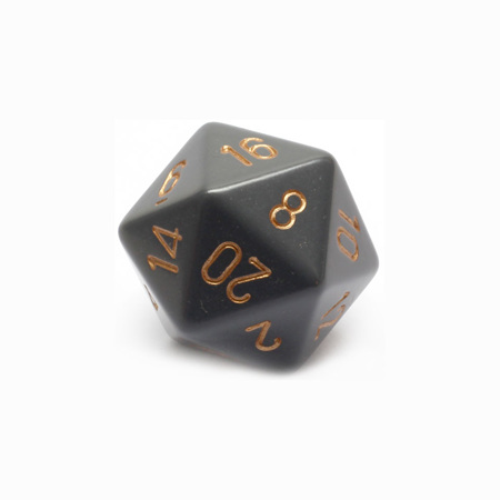 Grey with Copper Large Twenty Sided Dice