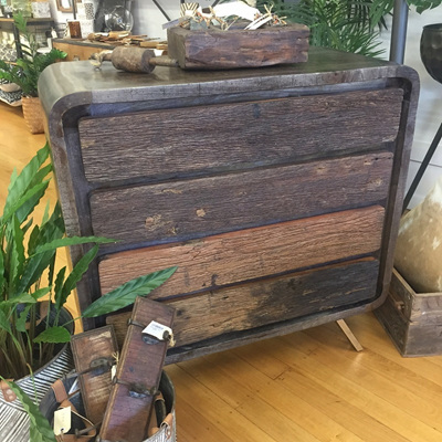 Grey Wood 4 Drawer Dresser W/Rustic Drawer
