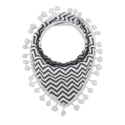 Grey Zigzag Tassle Bandana Bib