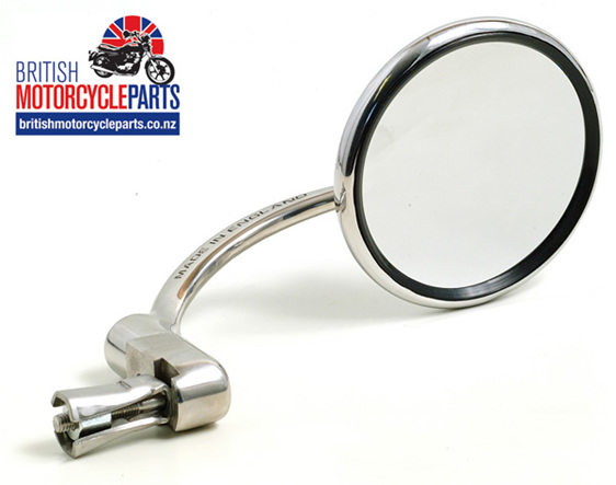 Halcyon Bar End Mirror Round Head - Stainless Steel - Brit MC Parts Auckland NZ