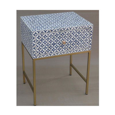 Hamptons Bone Inlay 1 Drawer Bedside Table - Nav - 60cmh