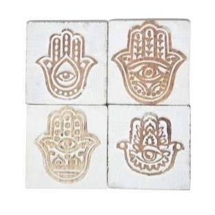 Hamsa Carved Wood Coaster - White Distress S4