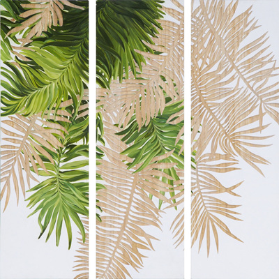 Handpainted & Carved Wooden Palm Panels