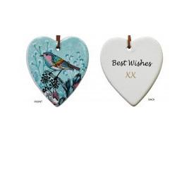 Hanging Heart Aqua Bird