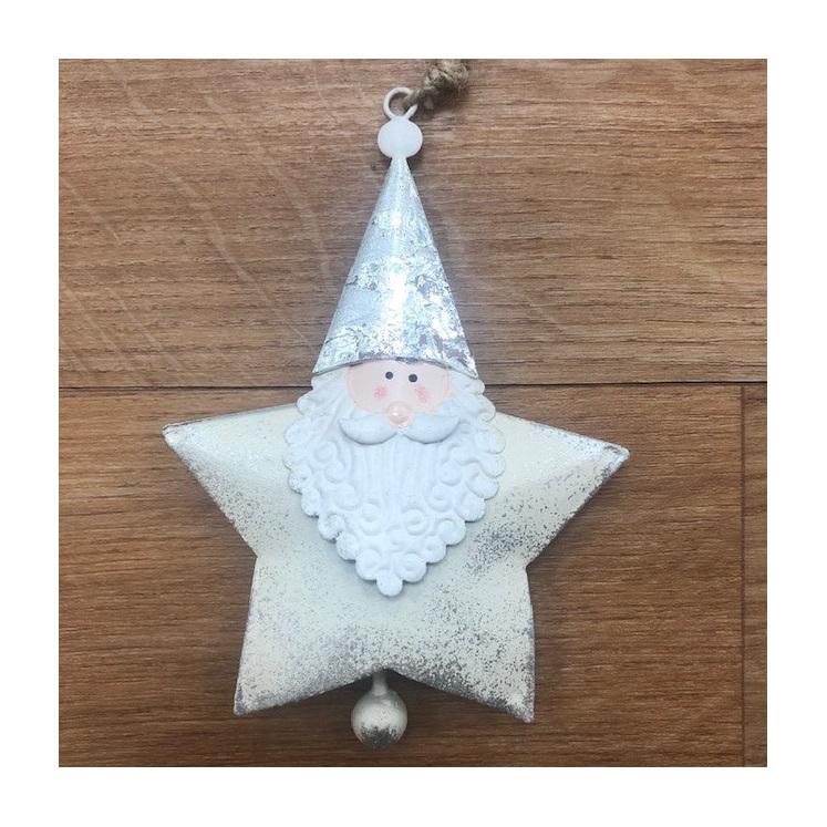 Hanging Santa Star Silver