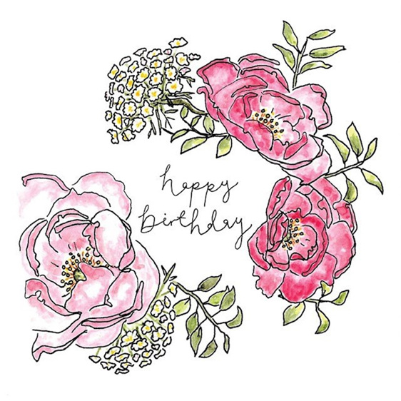 Happy Birthday Flower Burst Card