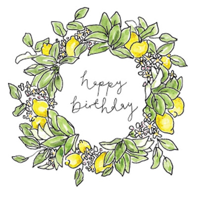 Happy Birthday Lemon Wreath Card