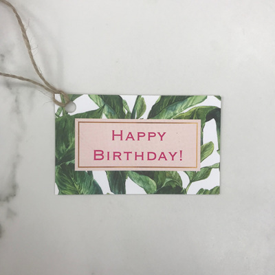Happy Birthday Palm Leaf - Gift Tag