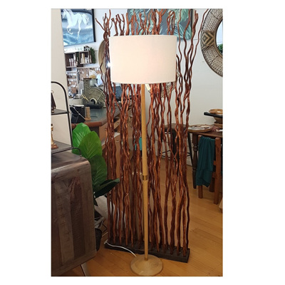 Harbin Oak Floor Lamp - Cream Linen Shade 144cm