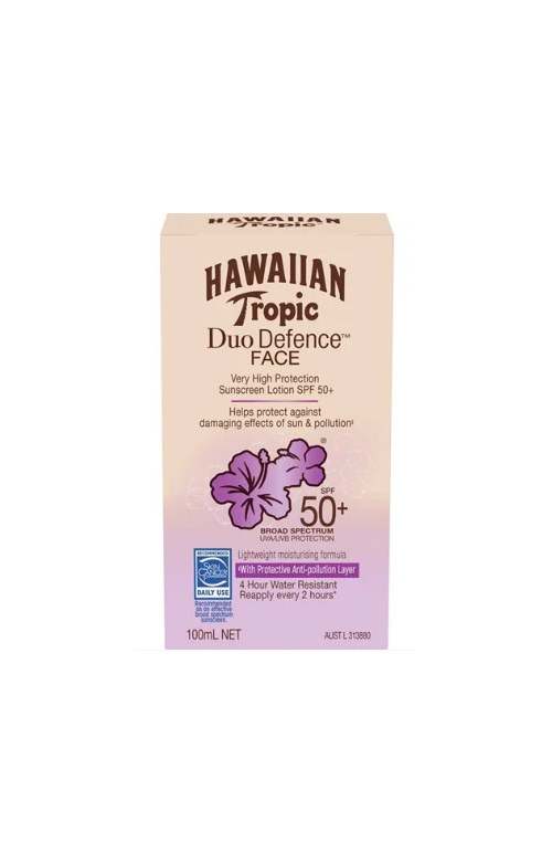 Hawaiian Tropic Duo Defence Face Sunscreen SPF50+ 100ml