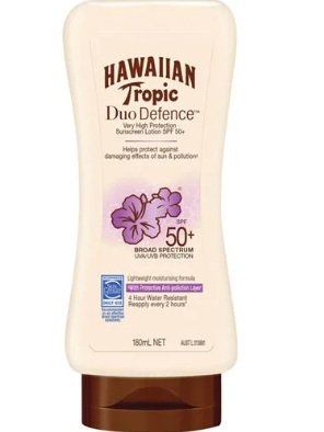 Hawaiian Tropic Duo Defence Sunscreen Lot SPF50+ 180ml