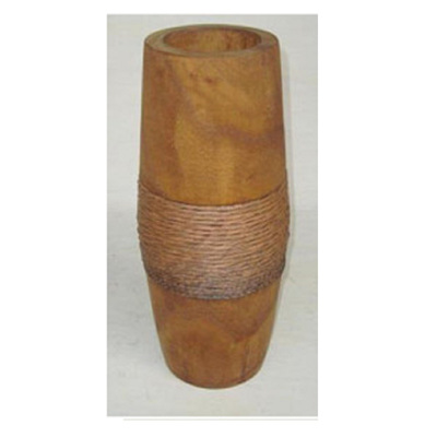 Hazel A Carved Wood Vase W Rope - Rust Stain