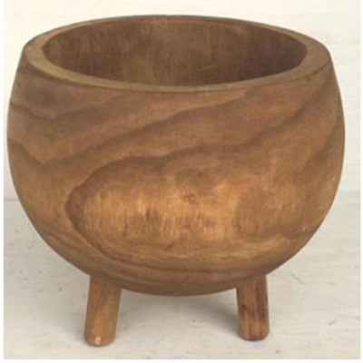 Hazel Carved Wood Planter W Legs - Large