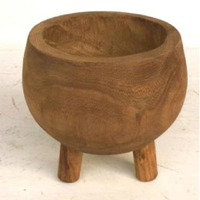 Hazel Carved Wood Planter W Legs - Rust Stain/Small
