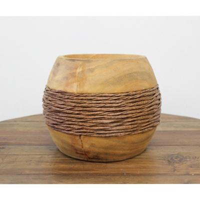 Hazel Carved Wood Vase W Rope - Squat