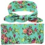 Headband & Wrap Set - Floral Green
