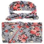 Headband & Wrap Set - Floral Grey
