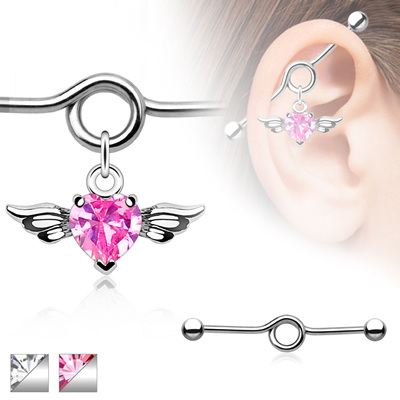 Heart CZ Angel Wing Charm Dangle Industrial Barbell
